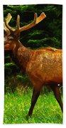 Elk Portrait Beach Towel