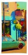 Elses Pub Cafe Plateau Montreal Corner Roy And De Bullion City Scene Art Of Montreal Carole Spandau Beach Towel