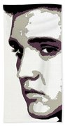 Elvis Presley Portrait Art Beach Towel