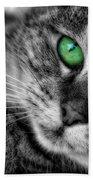Emerald Eyes Cat  Beach Towel