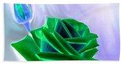 Emerald Rose Watercolor Beach Towel