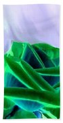 Emerald Rose Watercolor Beach Towel