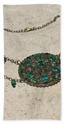 Emerald Vintage New England Glass Works Brooch Necklace 3632 Beach Towel