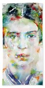 Emily Dickinson - Watercolor Portrait Beach Towel