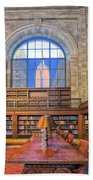 Empire State Building At The New York Public Library Beach Towel
