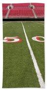 Empty American Football Stadium 50 Yard Line Beach Towel