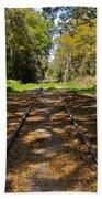 Empty Railroad Tracks Beach Towel