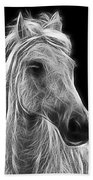 Energetic White Horse Beach Towel