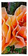 Engelmann Prickly Pear Cactus Flowers In Big Bend National Park-texas Beach Towel