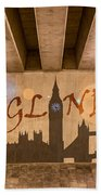 England Graffiti Landmarks Beach Towel
