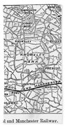 England Railroad Map Beach Towel