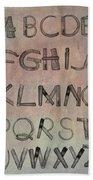 English Alphabet Music Sheets  Beach Towel