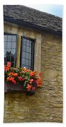 English Cottage Flower Box Beach Towel