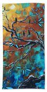 Enormous Abstract Bird Art Original Painting Where The Heart Is By Madart Beach Towel