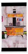 Enterprise Woodstove - Yellow Beach Towel by Barbara Griffin