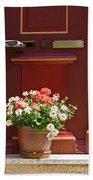 Entrance Door With Flowers Beach Towel