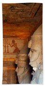 Entrance To The Great Temple Of Ramses II Beach Towel