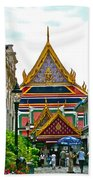 Entryway To Middle Court Of Grand Palace Of Thailand In Bangkok Beach Towel