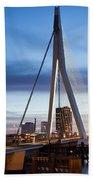 Erasmus Bridge And City Skyline Of Rotterdam At Dusk Beach Towel
