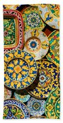 Erice Sicily Plates Yellow Beach Towel
