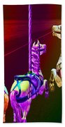 Escape Of The Carousel Horses Beach Towel