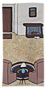 Essence Of Home - Black And White Cat In Living Room Beach Towel