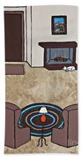 Essence Of Home - Cat By Fireplace Beach Towel