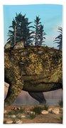 Euoplocephalus Dinosaur Grazing Beach Towel