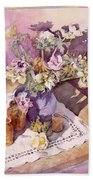Evening Anemones Beach Towel by Julia Rowntree