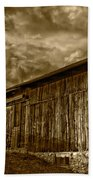 Evening Barn Sepia Beach Towel