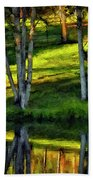 Evening Birches Painted Beach Towel