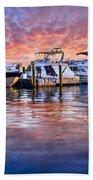 Evening Harbor Beach Towel