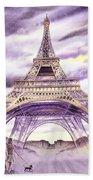 Evening In Paris A Walk To The Eiffel Tower Beach Sheet