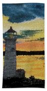 Evening Lighthouse In Stained Glass Beach Towel