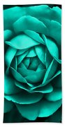 Evening Teal Rose Flower Beach Towel