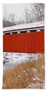 Everett Rd. Covered Bridge In Winter Beach Towel