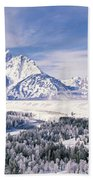 Evergreen Trees On A Snow Covered Beach Towel