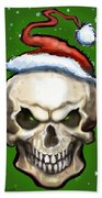 Evil Christmas Skull Beach Towel