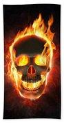 Evil Skull In Flames And Smoke Beach Towel
