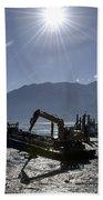 Excavator Clean A Harbor Beach Towel