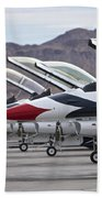 F-16c Thunderbirds On The Ramp Beach Towel by Terry Moore