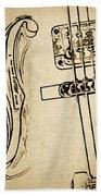 F Hole Line Drawing Beach Towel