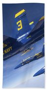 Fa-18 Hornets Of The Blue Angels Fly Beach Towel