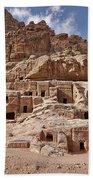 facade street in Nabataean ancient town Petra Beach Towel