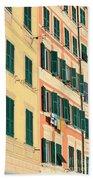 facades in Camogli Beach Towel