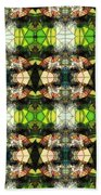 Face In The Stained Glass Tiled Beach Towel