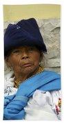 Face Of Ecuador Woman At Cotacachi Beach Towel