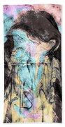 Faceless Girl With Her Crow Beach Towel