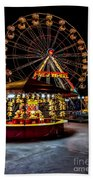 Fairground At Night Beach Towel