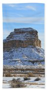 Fajada Butte In Snow Beach Towel